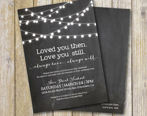 Vow Renewal Invitation- Chalkboard / Vow Renewal / Marriage / Festoon ...