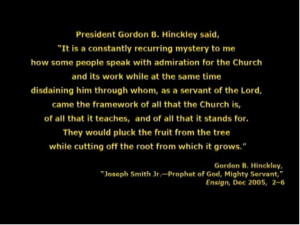 ... undertakes to tell us what President Hinckley meant in this quote