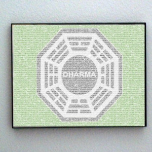 Framed ABC tv show LOST Dharma image made of script quotes