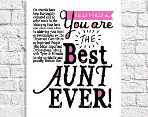 Best Aunt Ever Print. Personalized Aunt Gift From Nieces & Nephews ...