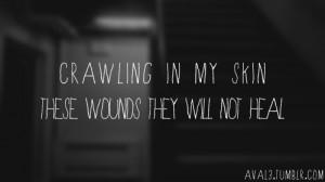 ... , linkin park, lyrics, music, quote, skin, typo, typography, wounds
