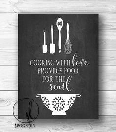 Kitchen Print, Chalkboard Art, Food Quote, Foodie Gift, Kitchen Quote ...