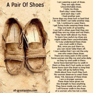 ... Loving Memory Picture Card - A Pair Of Shoes Mothers Loss Of A Child