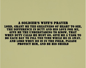 Soldier Sayings A soldier s wife s prayer