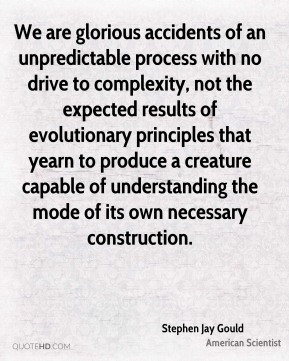 We are glorious accidents of an unpredictable process with no drive to ...
