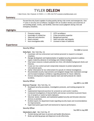 Security Officer Sample Resume Examples