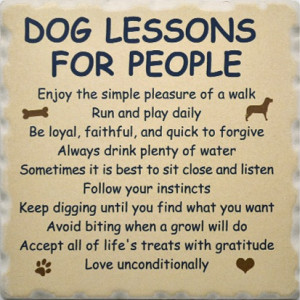 Favorite Dog Sayings Coaster Set 1752 - Dog Lessons for People Coaster
