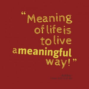 Quotes Picture: meaning of life is to live a meaningful way!