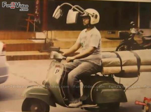 this funny helmet which has side mirrors like cars and this man funny ...