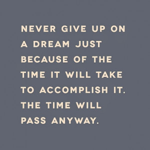 Never give up on a dream just because of the time it will take to ...