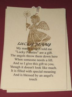 Gift Tags Lucky Penny from an Angel Poem by Judyscrafts on Etsy, $5 ...