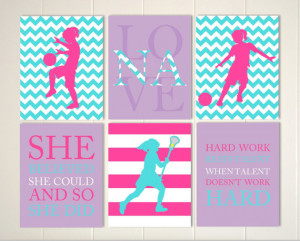 , girls sports art, girls room art, soccer girls art, sports quotes ...