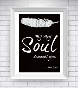 NeverMorePrints | Black Jane Eyre Print, Literary Quote Typography ...