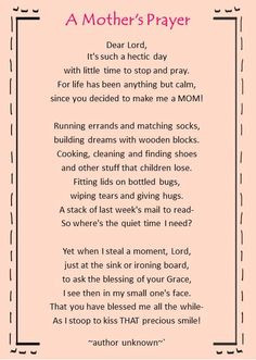 Morning quote | Poem | A mother's prayer | It's such a hectic day ...