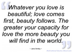 whatever you love is beautiful jane smiley