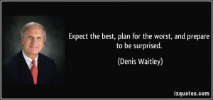 Expect the best, plan for the worst, and prepare to be surprised ...
