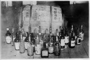 Confiscated barrel and bottles of whiskey circa 1921.