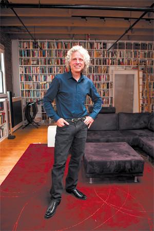Steven Pinker in the living room of his apartment, Boston
