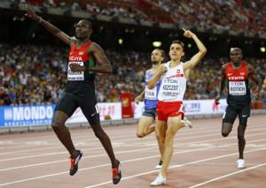 David Rudisha from Kenya ran a brilliant 800m race to win his second ...