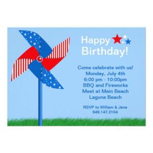 Fourth of July Pinwheel Birthday Party Invitation