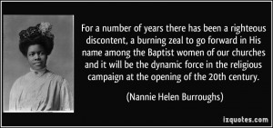 number of years there has been a righteous discontent, a burning zeal ...