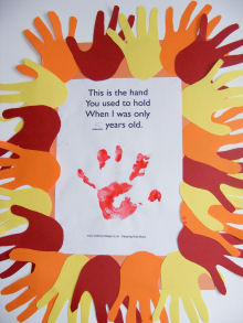handprint poem on orange A3 paper. He then drew around his handprint ...