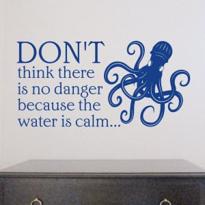 ... Sticker | Wall Decal - Calm water quote with Kraken design - H653K