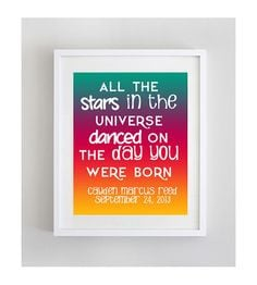 ... First Birthday Quote Newborn Boy Baby Art Print DIY Baby Rainbow Ombre
