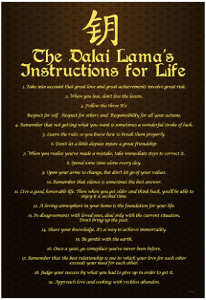 Dalai Lama (Instructions For Life) Art Poster Print
