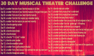 30 Day Musical Theatre Challenge ~ Definitely going to do this soon ...