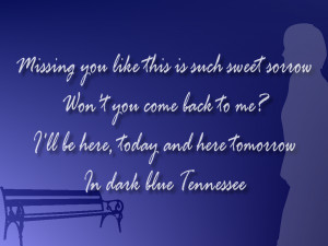 Dark Blue Tennessee - Taylor Swift Song Lyric Quote in Text Image