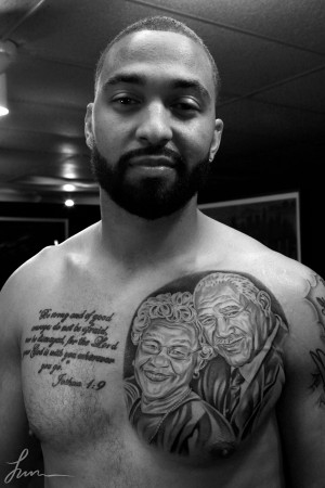 Matt Kemp's new Chest tattoo of his grandparents