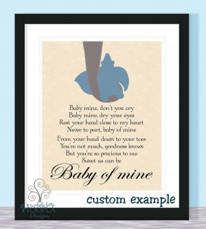 Home > Products > Disney Dumbo Quote BABY OF MINE - Typographic Print ...
