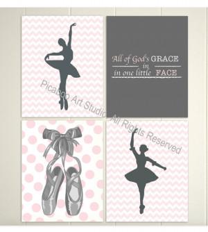 ... ballerina, quotes for nursery, ballerina slippers, polka dot, Set of 4
