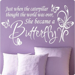 Large White Butterfly Caterpillar..Wall Decal Little Girls Room ...