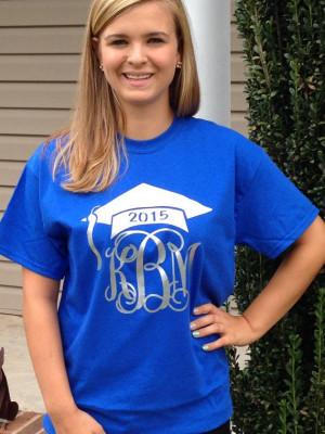 Class of 2015 T-Shirt Monogram Graduation TShirt Glitter T-Shirt ...