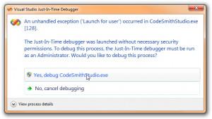 Click Yes, debug CodeSmithStudio to continue debugging.