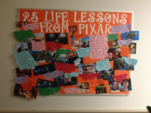 Resident assistant bulletin board on life lessons according to Pixar ...