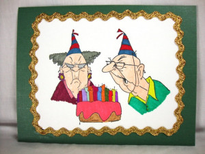 Old Woman And Old Man Humorous Funny Birthday Card For The Mature ...