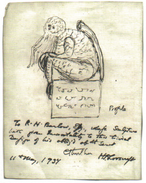 Lovecraft's own drawing of Cthulhu, from a letter to his future ...
