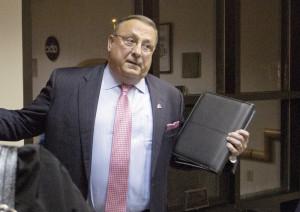 Press Herald photo by Gabe SouzaGov. Paul LePage stops in the lobby of ...