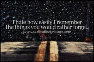 hate how easily i remember the things you would rather forget.