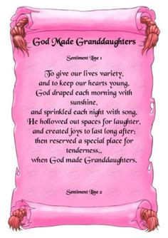 Granddaughter On the Way Poem | Poems to Granddaughter | Scrapbook ...