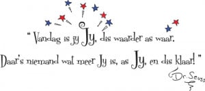 Dr Seuss quote Afrikaans wall poetry