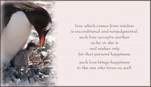 Love which comes from wisdom is unconditional and nonjudgmental. Such ...