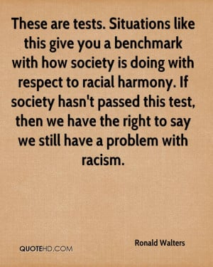 benchmark with how society is doing with respect to racial harmony ...