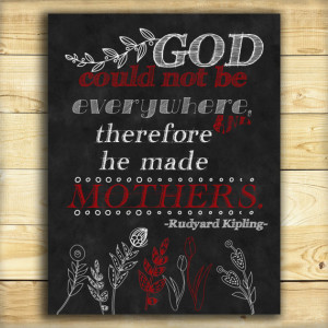 Chalkboard Art Print-Mother's Day-Mother Word Quote-GOD could not be ...