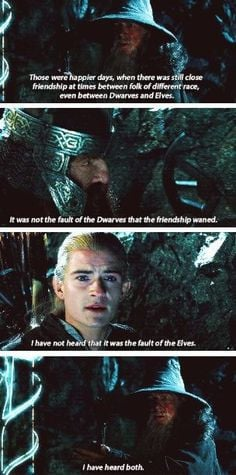 Would you believe Legolas and Gimli are best friends now?!? More