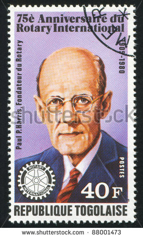 ... Togo, shows Paul P. Harris, Rotary founder, circa 1980. - stock photo