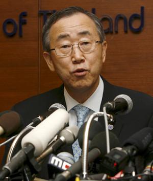 Ban Kimoon Un Secretary General Burma Aid Access Cyclone